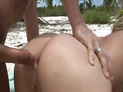 british, beach, double, penetration, anal, hardcore