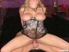 Sexy golden haired alanah rae slams her twat on hard beaver basher
