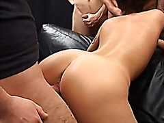 Awesome babe in a gangbang