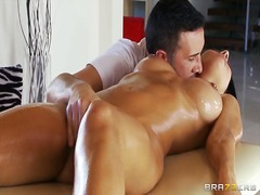 foreplay, massage, shaved, fingering, oil, boobs, kissing