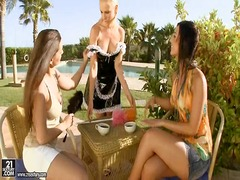lesbian, outdoors, hungarian, threesome, girls