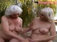 lesbos, beach, lesbian, outdoors, blonde, mature, fingering