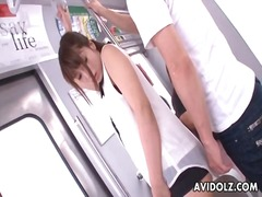 Beautiful young japanese girl groped on train