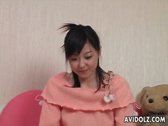 Japanese girl in sweet sweater groped lustily