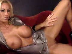 milf, blond, babe, lateks, strip, tiete