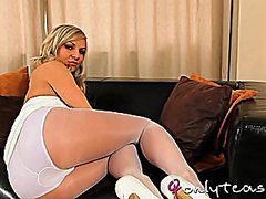 striptease, solo, girls, pantyhose, blonde