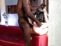 Angela attison gets her love tunnel trained by dudes throbbing worm in interracial scene