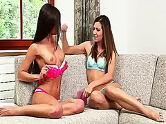 Stunning lesbian caprice strips together with her beautiful female friend getting ready for some hardcore fun