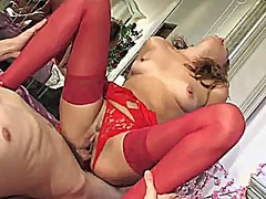 Sexy milf in red dress